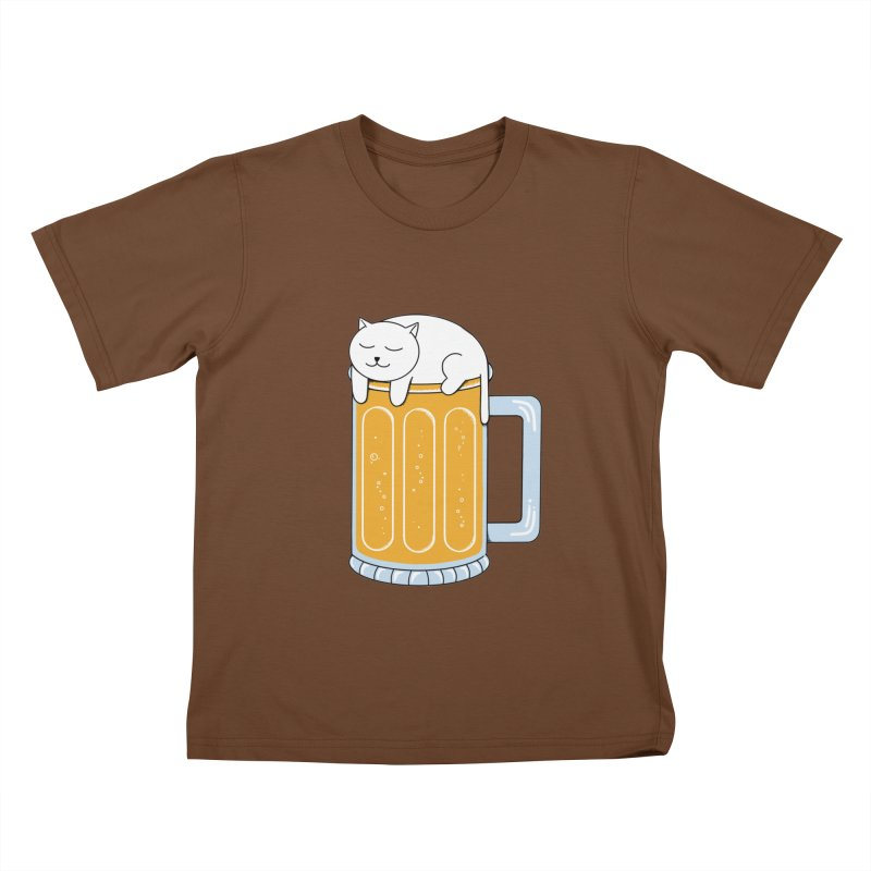 Cat beer Kids T-Shirt by coffeeman's Artist Shop