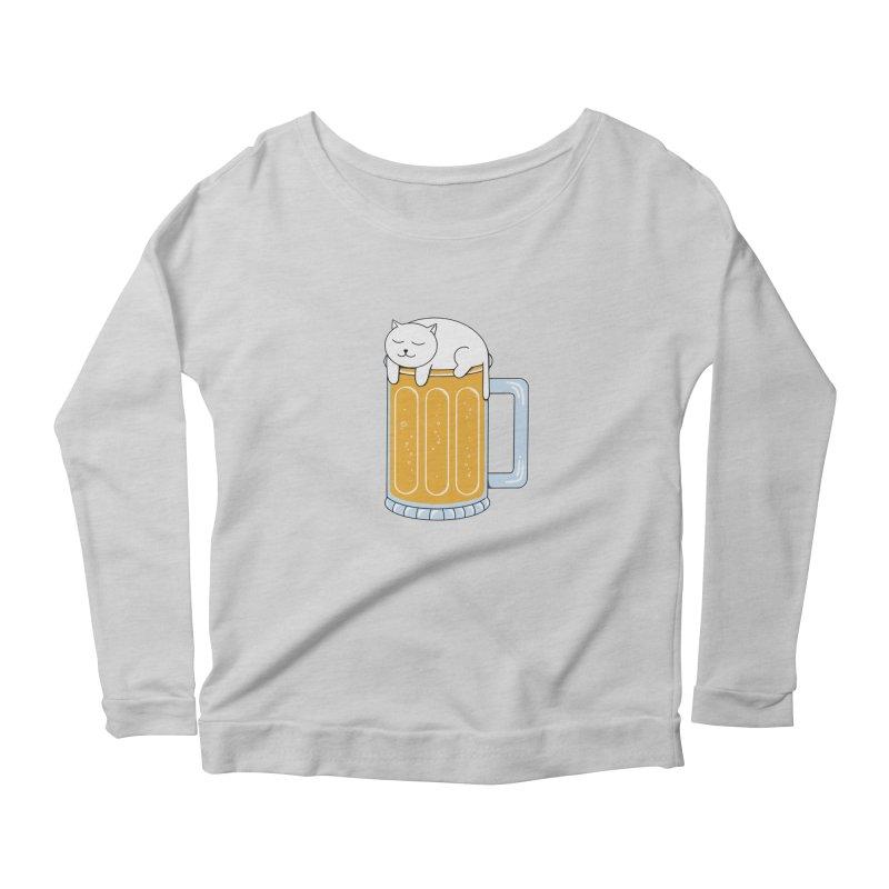 Cat beer Women's Scoop Neck Longsleeve T-Shirt by coffeeman's Artist Shop