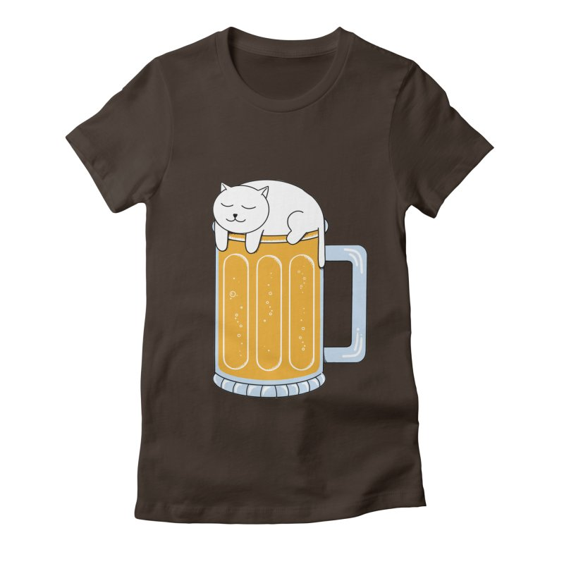 Cat beer Women's Fitted T-Shirt by coffeeman's Artist Shop