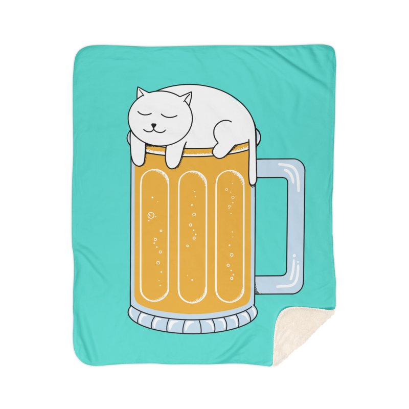 Cat beer Home Sherpa Blanket Blanket by coffeeman's Artist Shop