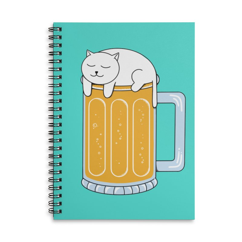 Cat beer Accessories Lined Spiral Notebook by coffeeman's Artist Shop