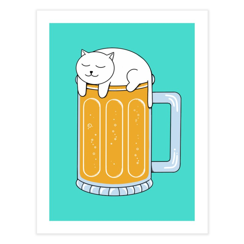 Cat beer Home Fine Art Print by coffeeman's Artist Shop