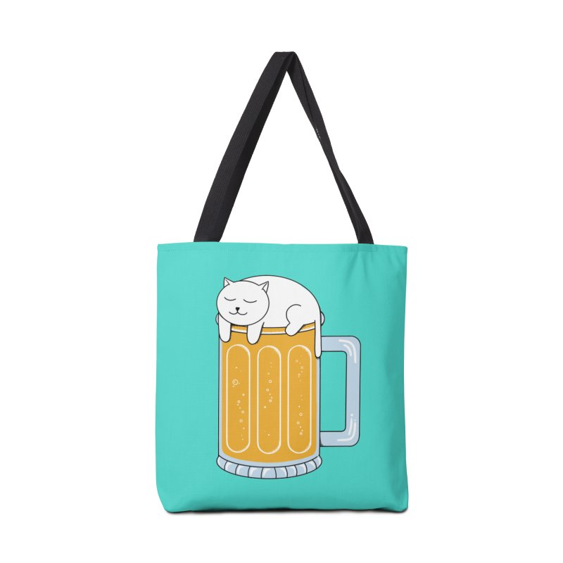 Cat beer Accessories Tote Bag Bag by coffeeman's Artist Shop