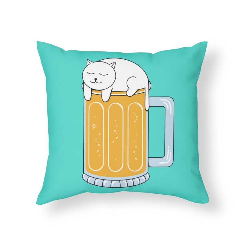 Cat beer Home Throw Pillow by coffeeman's Artist Shop