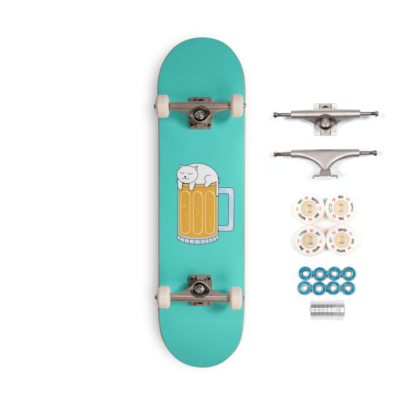 Cat beer Accessories Complete - Premium Skateboard by coffeeman's Artist Shop