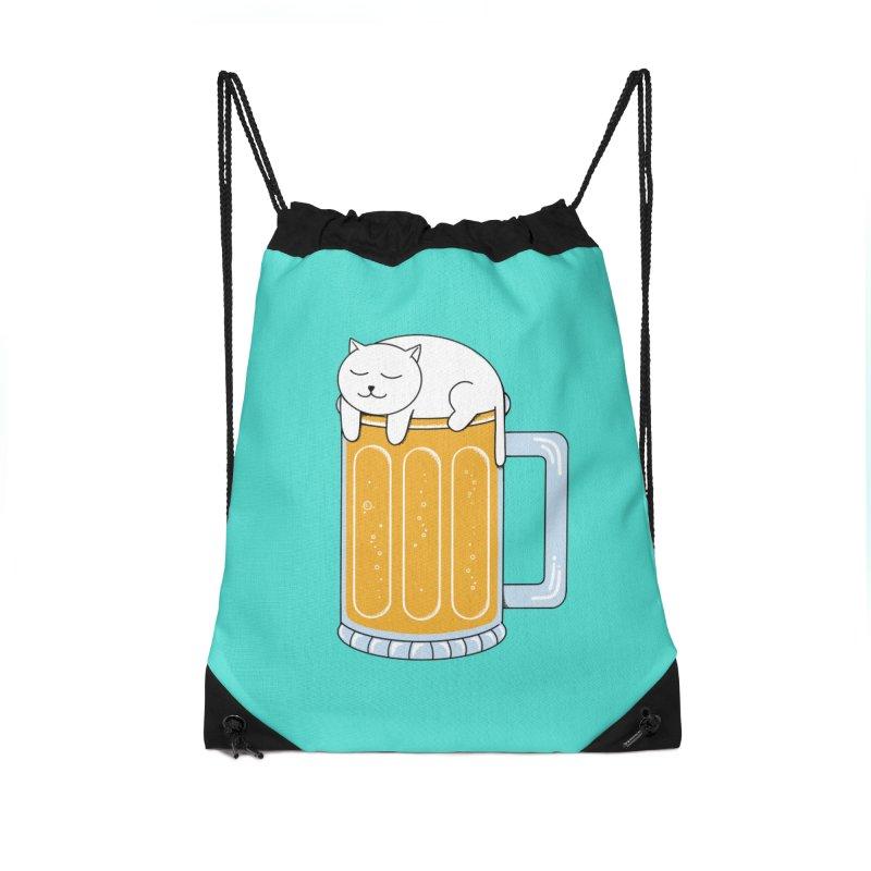 Cat beer Accessories Drawstring Bag Bag by coffeeman's Artist Shop