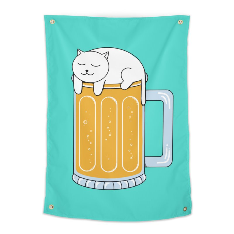 Cat beer Home Tapestry by coffeeman's Artist Shop