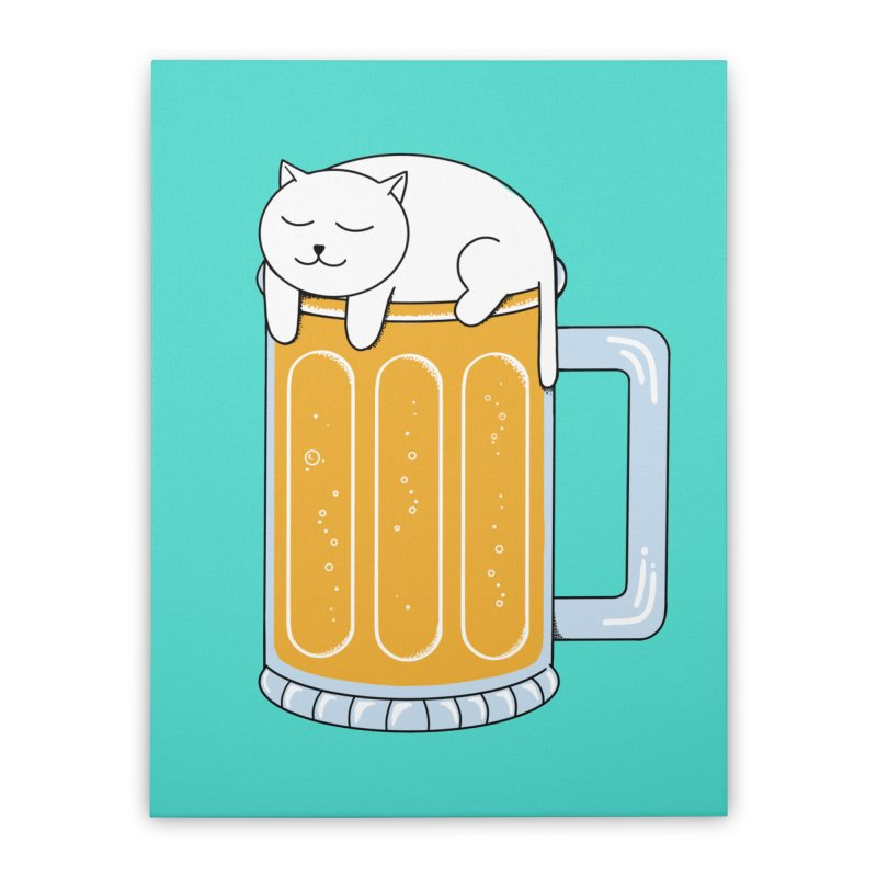 Cat beer Home Stretched Canvas by coffeeman's Artist Shop