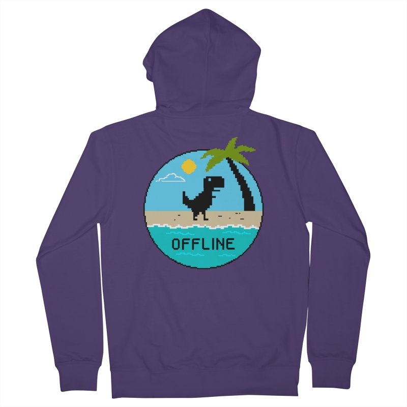 Dinosaur offline Women's French Terry Zip-Up Hoody by coffeeman's Artist Shop