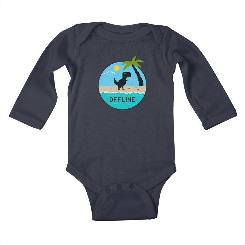 Dinosaur offline Kids Baby Longsleeve Bodysuit by coffeeman's Artist Shop