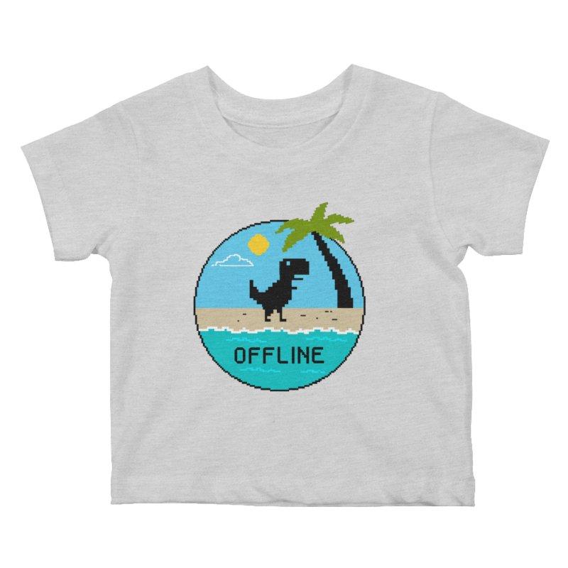 Dinosaur offline Kids Baby T-Shirt by coffeeman's Artist Shop