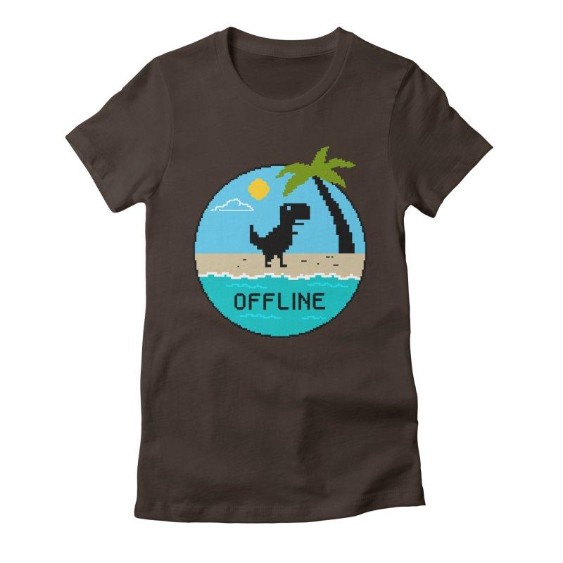 Dinosaur offline Women's Fitted T-Shirt by coffeeman's Artist Shop