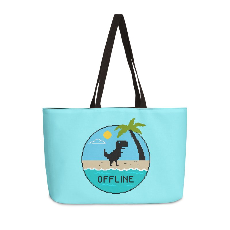 Dinosaur offline Accessories Weekender Bag Bag by coffeeman's Artist Shop