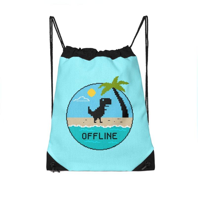 Dinosaur offline Accessories Drawstring Bag Bag by coffeeman's Artist Shop