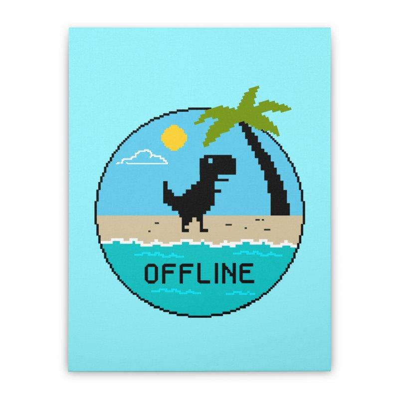 Dinosaur offline Home Stretched Canvas by coffeeman's Artist Shop