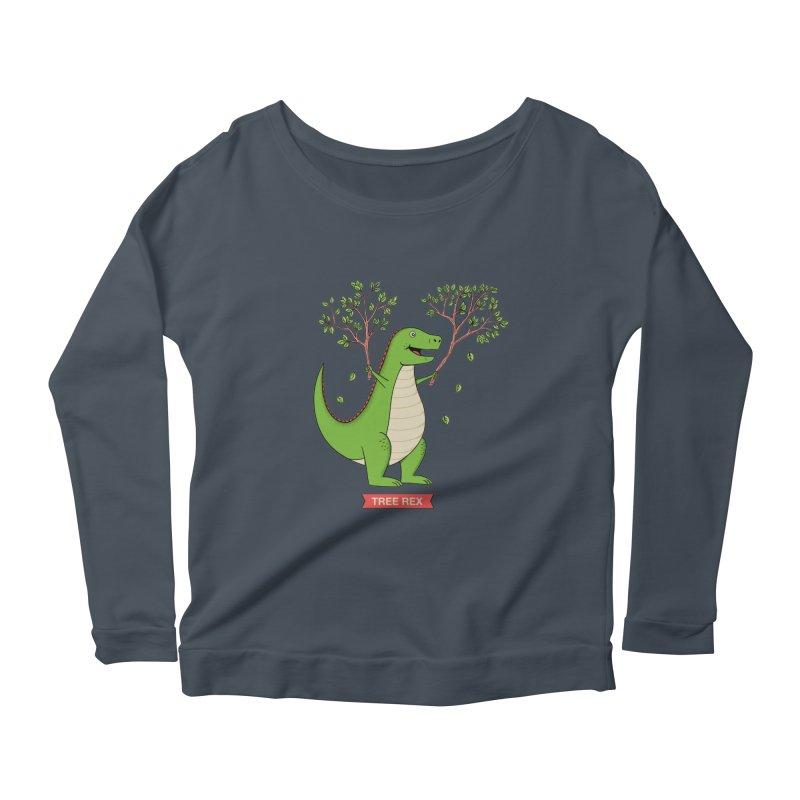 Tree Rex Women's Scoop Neck Longsleeve T-Shirt by coffeeman's Artist Shop