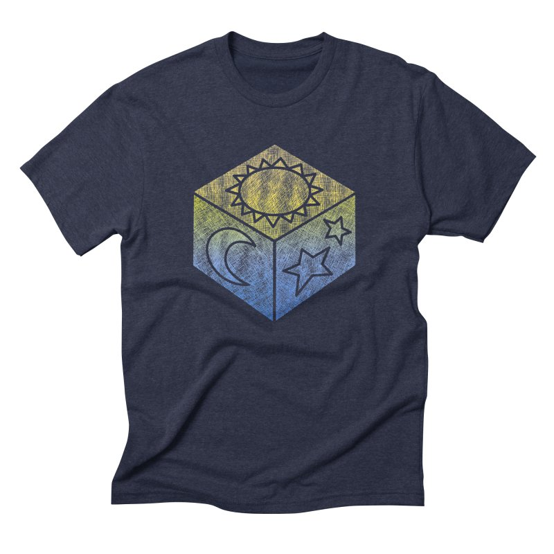 Sun Moon & Stars in Men's Triblend T-shirt Navy by Coffee Pine Studio