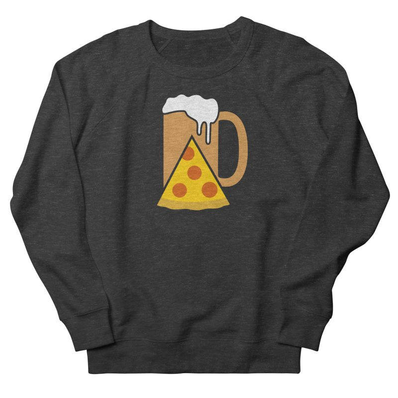 Beer and Pizza Time in Men's French Terry Sweatshirt Smoke by Coffee Pine Studio