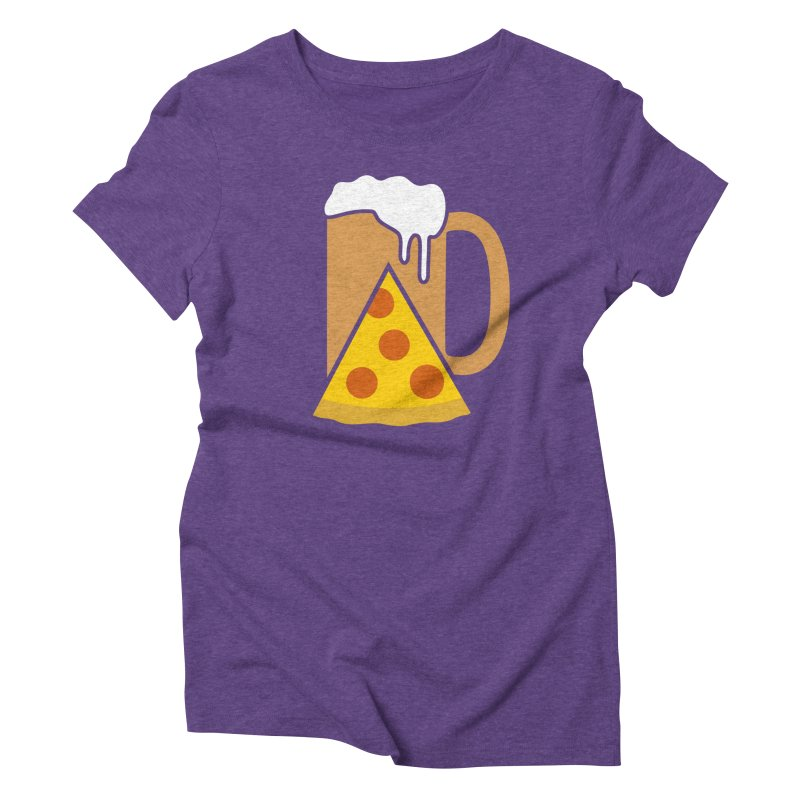 Beer and Pizza Time Women's Triblend T-shirt by Coffee Pine Studio