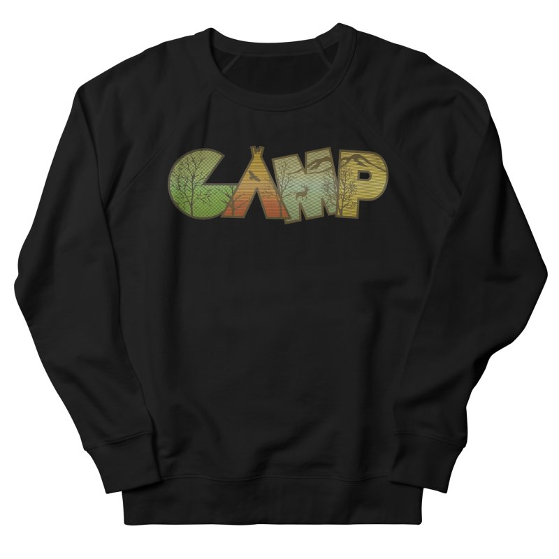 Camp in Men's French Terry Sweatshirt Black by Coffee Pine Studio