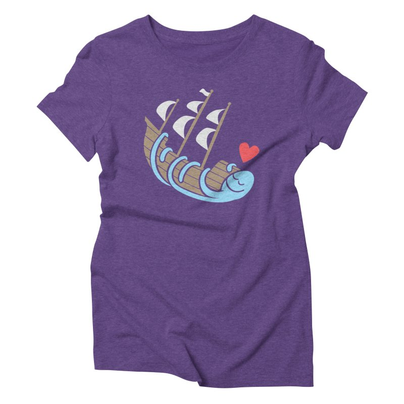 The Ship Loving Kraken in Women's Triblend T-Shirt Tri-Purple by Coffee Pine Studio