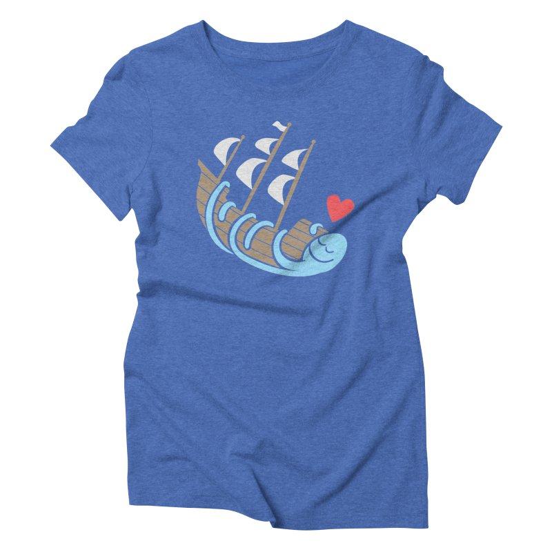 The Ship Loving Kraken Women's Triblend T-Shirt by Coffee Pine Studio