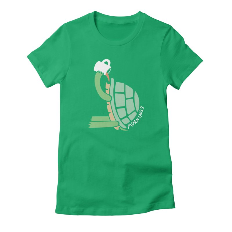 Mornings Women's Fitted T-Shirt by Coffee Pine Studio