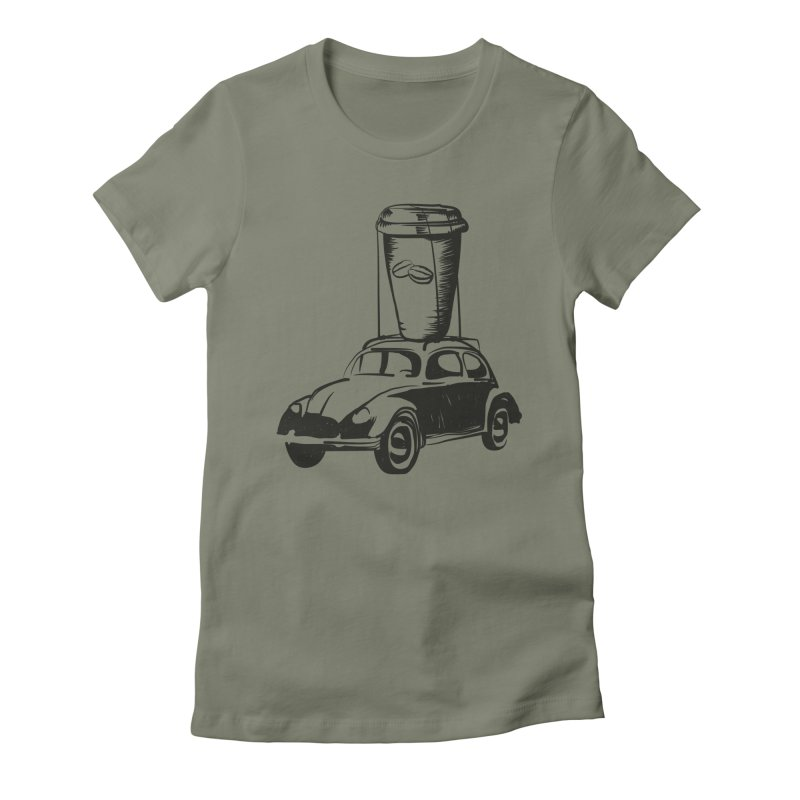 Coffee to Go Women's Fitted T-Shirt by Coffee Pine Studio