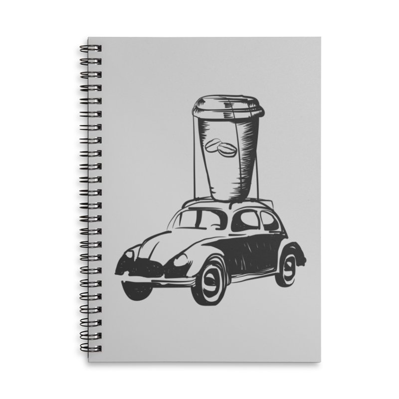 Coffee to Go Accessories Lined Spiral Notebook by Coffee Pine Studio