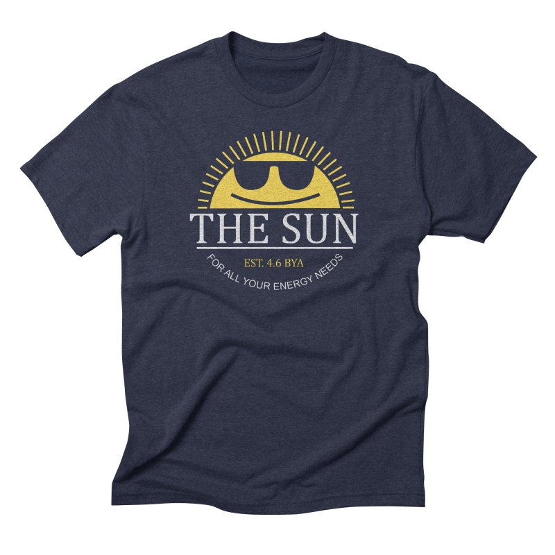 The Sun in Men's Triblend T-Shirt Navy by Coffee Pine Studio