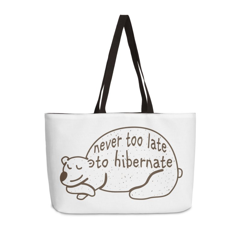 Never too Late to Hibernate Accessories Weekender Bag Bag by Coffee Pine Studio