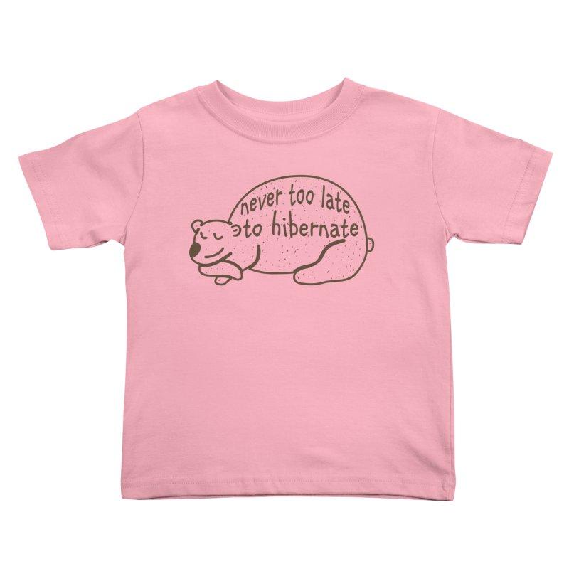 Never too Late to Hibernate Kids Toddler T-Shirt by Coffee Pine Studio