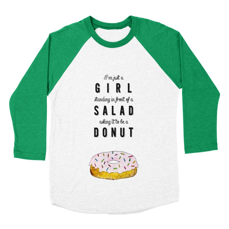 Girl and a donut Women's Baseball Triblend T-Shirt by Colette's Shop