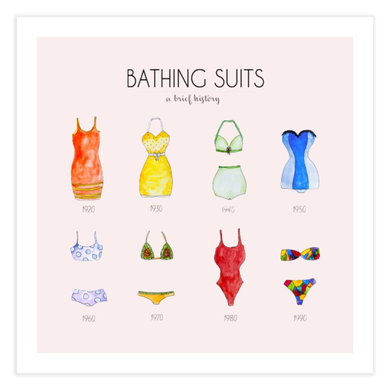 Bathing suits Home Fine Art Print by Colette's Shop