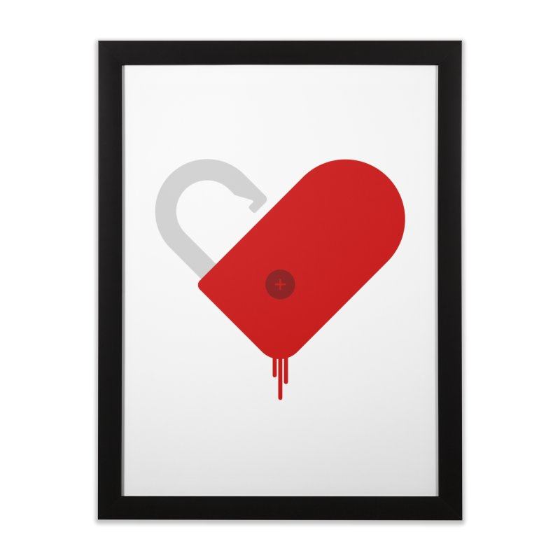 Open Heart in Framed Fine Art Print Black by Offset
