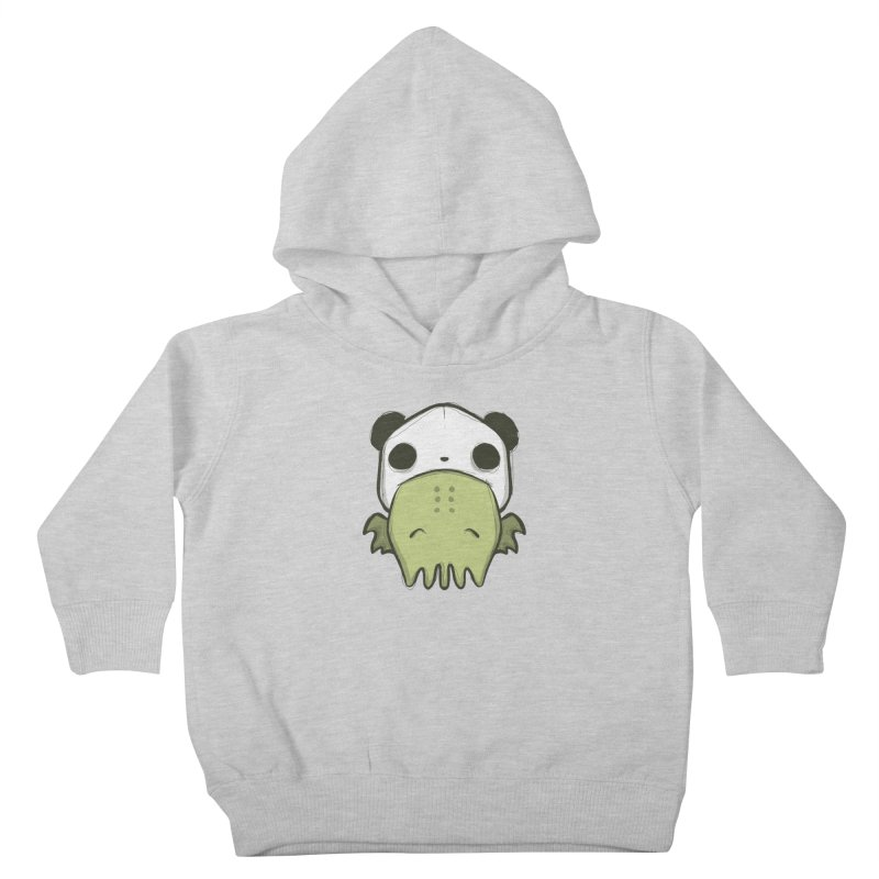 Chibi Cthulu in Panda Hat in Kids Toddler Pullover Hoody Heather Grey by Colleen Palmer's Artist Shop