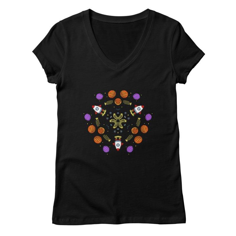 Symmetric Space Women's Regular V-Neck by Colmena Ink's Shop
