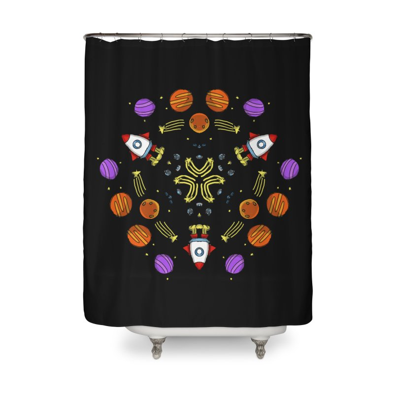Symmetric Space Home Shower Curtain by Colmena Ink's Shop