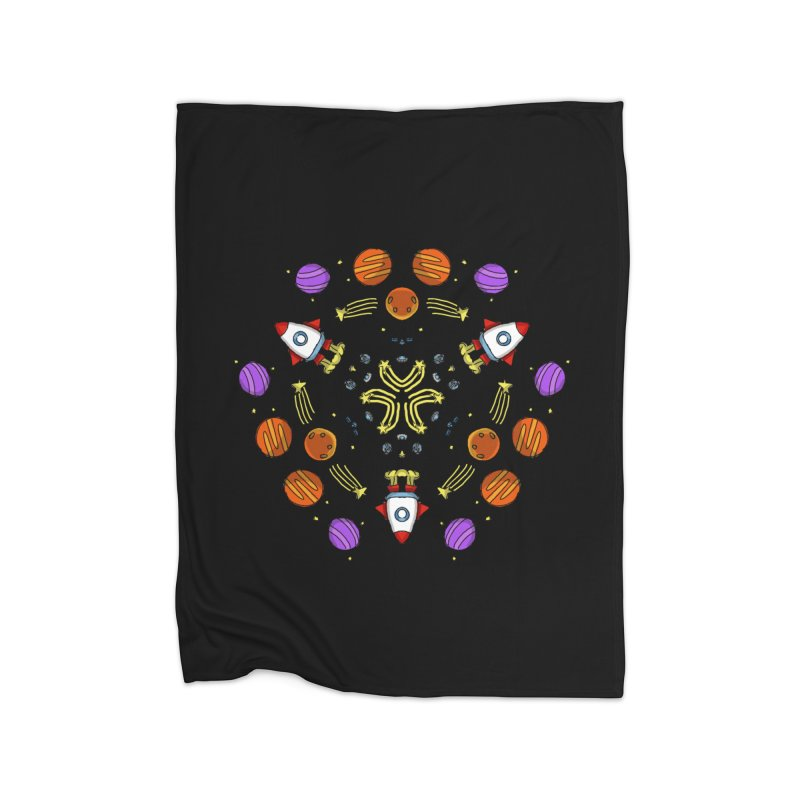 Symmetric Space Home Fleece Blanket Blanket by Colmena Ink's Shop
