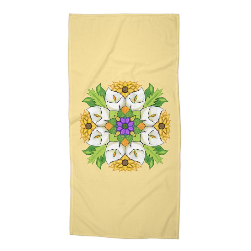 Florala Accessories Beach Towel by Colmena Ink's Shop
