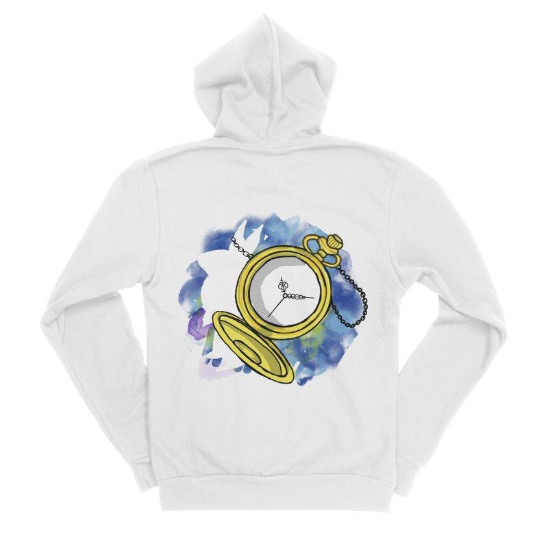 White rabbit time Men's Sponge Fleece Zip-Up Hoody by Colmena Ink's Shop
