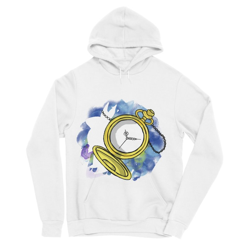 White rabbit time Men's Sponge Fleece Pullover Hoody by Colmena Ink's Shop