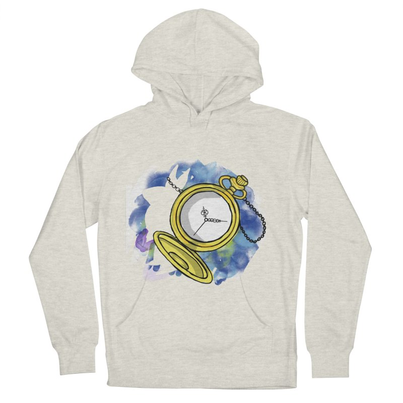 White rabbit time Men's French Terry Pullover Hoody by Colmena Ink's Shop