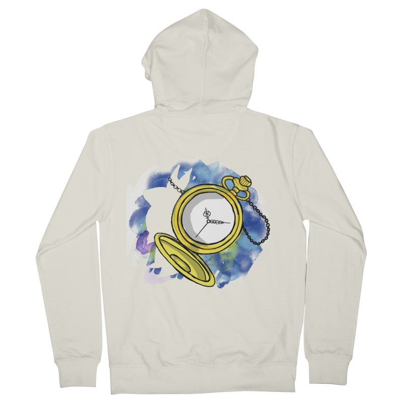 White rabbit time Men's French Terry Zip-Up Hoody by Colmena Ink's Shop