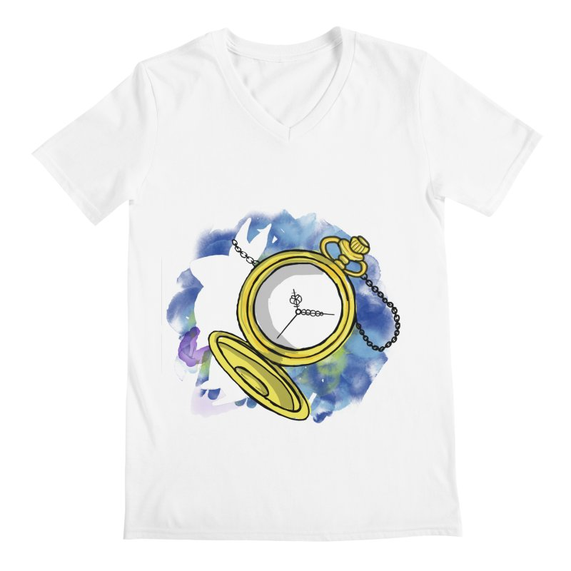 White rabbit time Men's Regular V-Neck by Colmena Ink's Shop