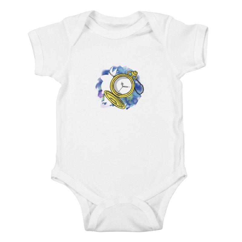 White rabbit time Kids Baby Bodysuit by Colmena Ink's Shop