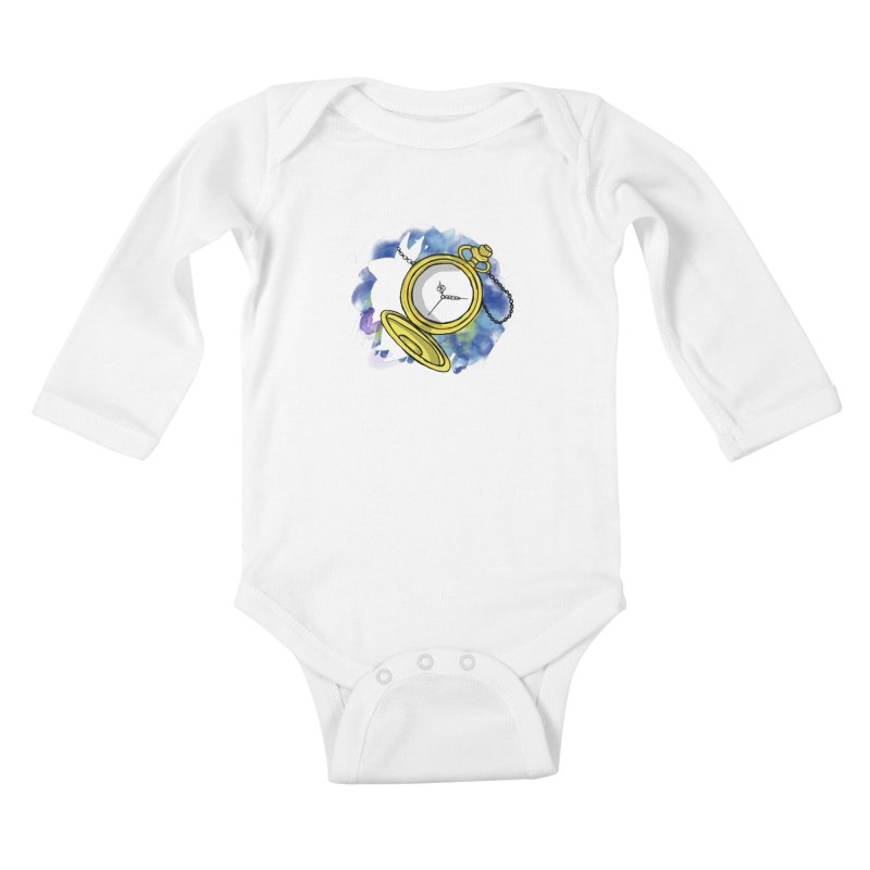 White rabbit time Kids Baby Longsleeve Bodysuit by Colmena Ink's Shop