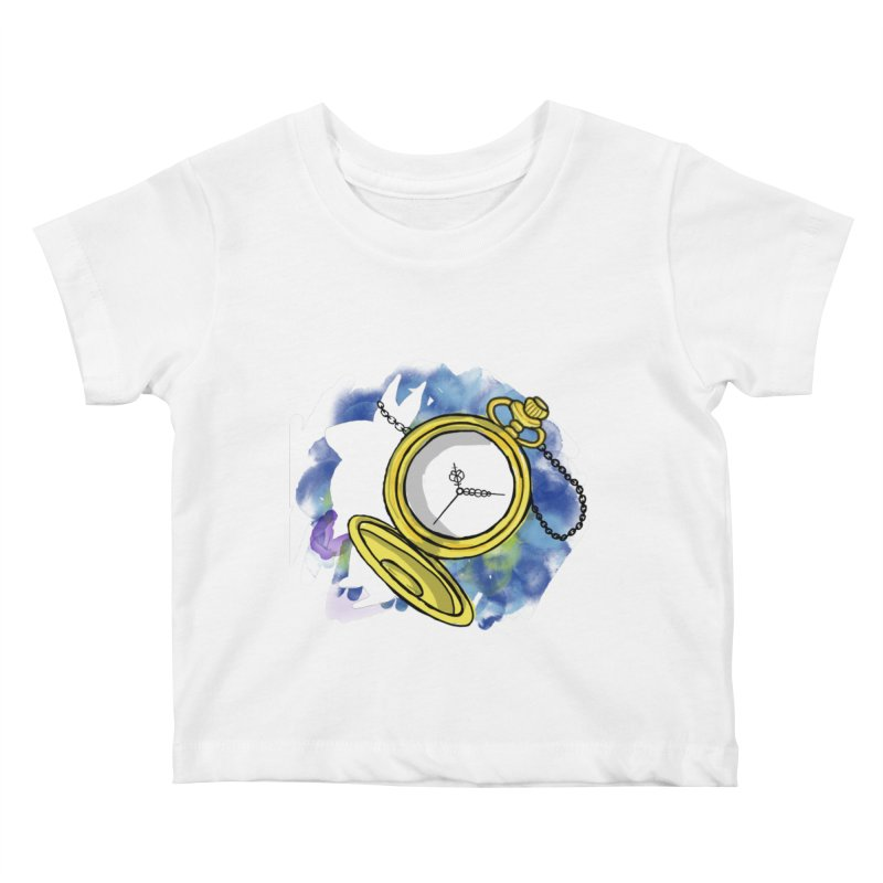 White rabbit time Kids Baby T-Shirt by Colmena Ink's Shop