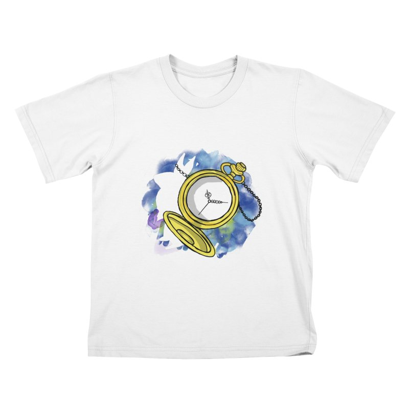 White rabbit time Kids T-Shirt by Colmena Ink's Shop