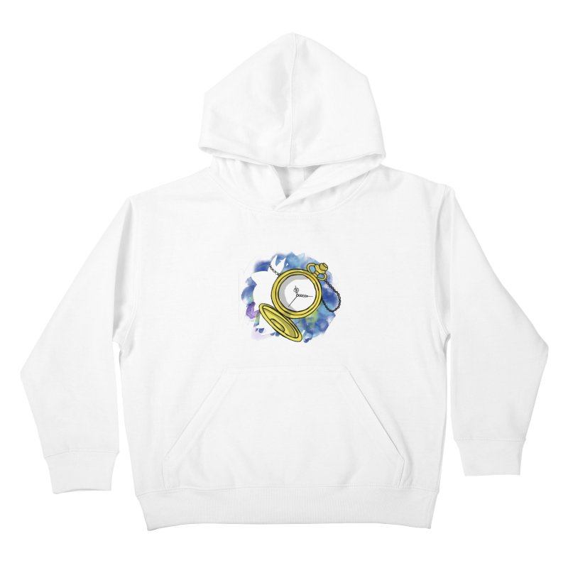 White rabbit time Kids Pullover Hoody by Colmena Ink's Shop